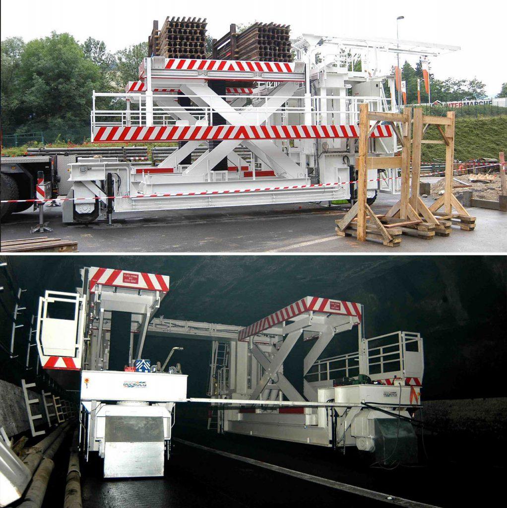 Hubtische für Tunnelarbeiten (2 Fach synchron gesteuert & fahrbar)